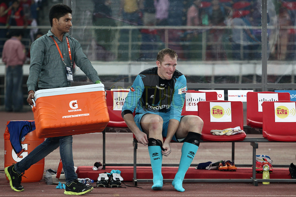 Kristof Van Hout of Delhi Dynamos FC after the  match 16 of the Hero Indian Super League between The Delhi Dynamos FC and NorthEast United FC held at the Jawaharlal Nehru Stadium, Delhi, India on the 29th October 2014.<br /> <br /> Photo by:  Deepak Malik/ ISL/ SPORTZPICS