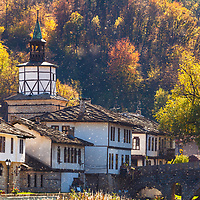 Old bulgarian monastery at autumn time