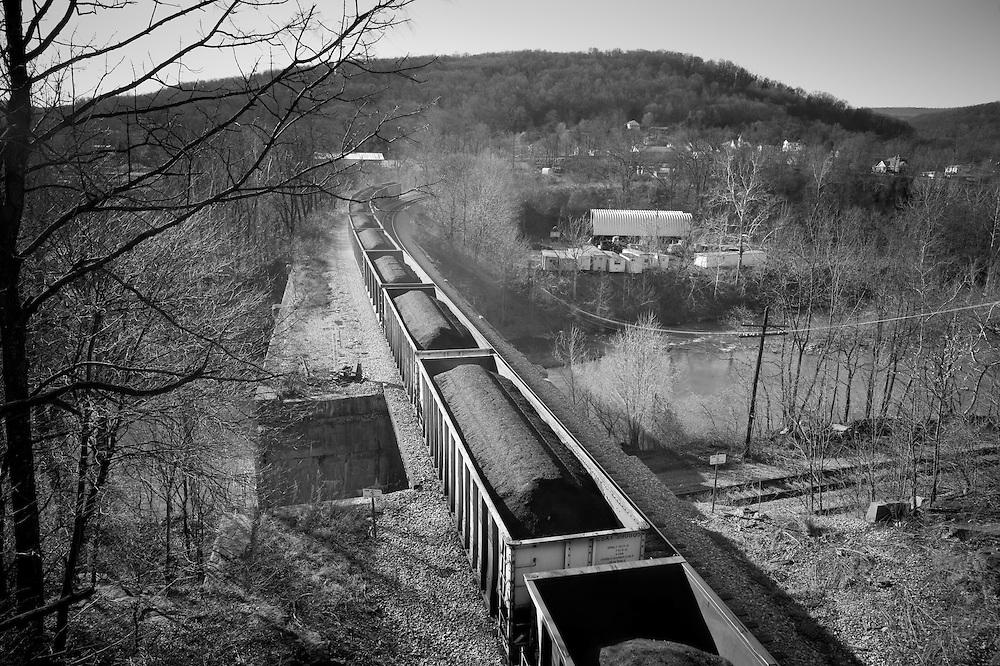 Cargo train passing through coal mines