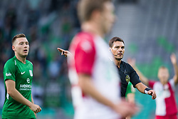Matic Crnic, Roberto Ponis during football match between NK Olimpija Ljubljana and Aluminij in Round #9 of Prva liga Telekom Slovenije 2018/19, on September 23, 2018 in Stozice Stadium, Ljubljana, Slovenia. Photo by Morgan Kristan