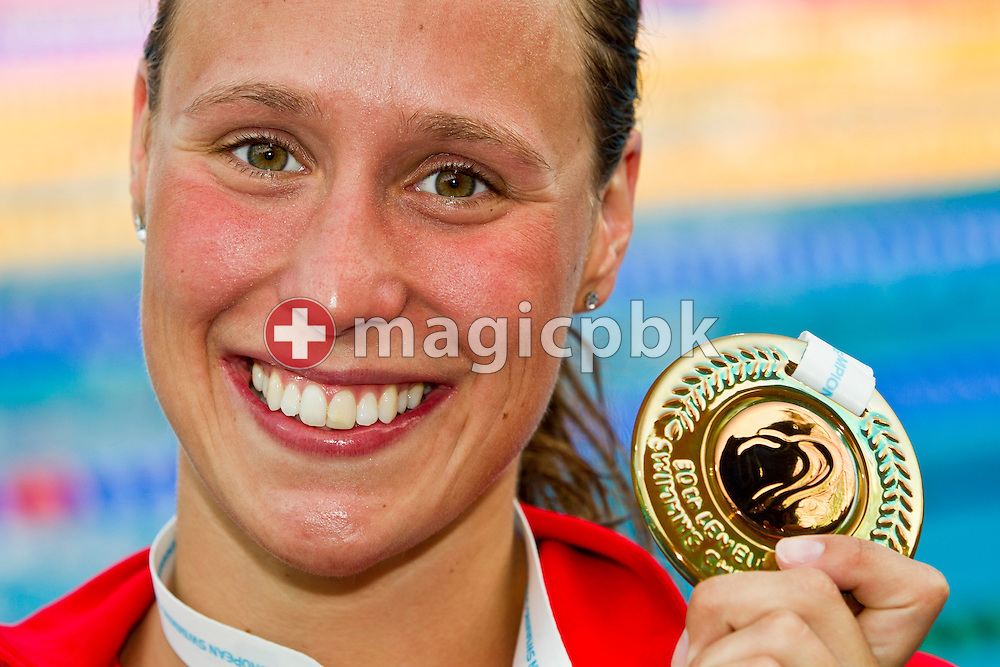 Rikke Moeller PEDERSEN of Denmark poses with her Bronze medal after competing in the women's 200m Breaststroke Final at the European Swimming Championship at the Hajos Alfred Swimming complex in Budapest, Hungary, Friday, Aug. 13, 2010. (Photo by Patrick B. Kraemer / MAGICPBK)