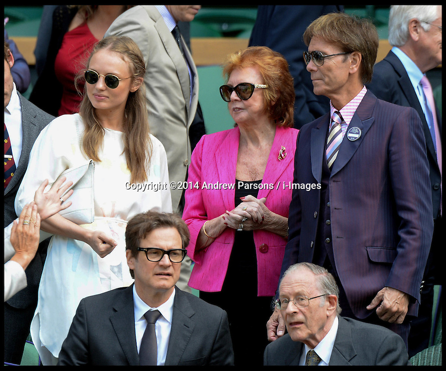 Image ©Licensed to i-Images Picture Agency. 03/07/2014. London, United Kingdom. Laura Haddock, Cillia Black, Cliff Richard and Colin Firth in the Royal Box at the  Wimbledon Tennis Championship for Day Ten.  Picture by Andrew Parsons / i-Images