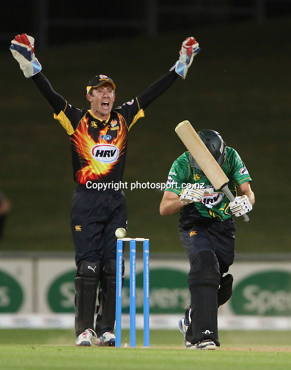 Wellington's Luke Ronchi appeals for a wicket  in the HRV Cup T20 cricket match between the Central Districts Stags and the Wellington Firebirds at McLean Park, Napier, New Zealand. Friday, 07 December, 2012. Photo: John Cowpland / photosport.co.nz