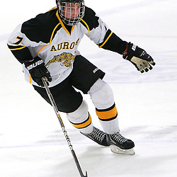 AURORA, ON - Jan 11 : Ontario Junior Hockey League Game Action between the Lindsay Muskies and the Aurora Tigers, Austn Rigney #7 of the Aurora Tigers Hockey Club skates with the puck.<br /> (Photo by Brian Watts / OJHL Images)