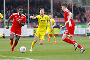 Crawley Town midfielder Enzio Boldewijn (7) gets passed Cheltenham Town midfielder Kevin Dawson (8) during the EFL Sky Bet League 2 match between Crawley Town and Cheltenham Town at the Checkatrade.com Stadium, Crawley, England on 24 March 2018. Picture by Andy Walter.