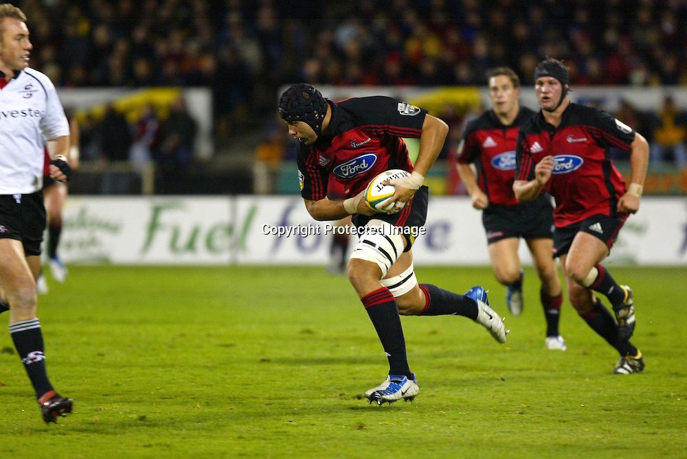 15 May 2004, Rugby Union Super 12 semi final, Crusaders vs Stormers, Jade Stadium, Christchurch, New Zealand.<br />Ross Filipo<br />Crusaders won 27-16 to go through to the final against the Brumbies next week.<br />Please credit: Sandra Teddy/Photosport