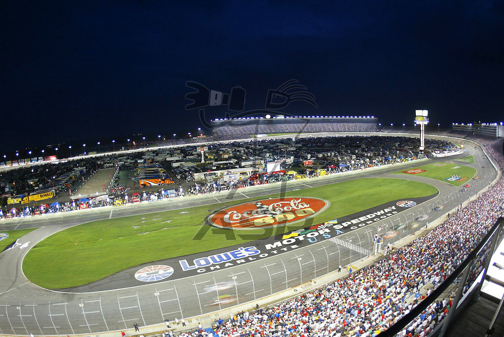 Lowe's Motor Speedway plays host to the longest NASCAR Winston Cup race of the season.  The running of the Coca-Cola 600 starts during the day and ends at night.
