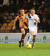 Dundee&rsquo;s Gary Irvine and Motherwell&rsquo;s Liam Grimshaw - Motherwell v Dundee - Ladbrokes Premiership at Fir Park<br /> <br /> <br />  - &copy; David Young - www.davidyoungphoto.co.uk - email: davidyoungphoto@gmail.com