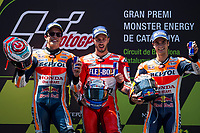 Marc Marquez of Spain and Repsol Honda Team, Andrea Dovizioso of Italy and Ducati Team and Dani Pedrosa of Spain and Repsol Honda Team  during the race of  MotoGP of Catalunya at Circuit de Catalunya on June 11, 2017 in Montmelo, Spain.(ALTERPHOTOS/Rodrigo Jimenez)