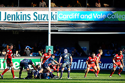 Cardiff replacement (#22) Jason Tovey passes out wide during the second half of the match - Photo mandatory by-line: Rogan Thomson/JMP - Tel: Mobile: 07966 386802 21/10/2012 - SPORT - RUGBY - Cardiff Arms Park - Cardiff. Cardiff Blues v Toulon (RC Toulonnais) - Heineken Cup Round 2