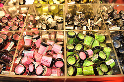 © Licensed to London News Pictures. 28/03/2016. Cosmetics on display at The Professional Beauty Show. The show is the largest in the UK and one of the largest in Europe. London, UK. Photo credit: Ray Tang/LNP
