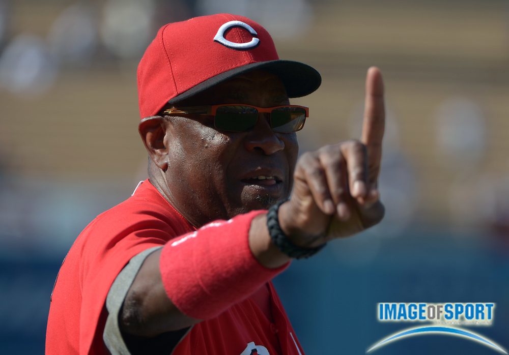 Jul 4, 2012; Los Angeles, CA, USA; Cincinnati Reds manager Dusty Baker gestures before the game against the Los Angeles Dodgers at Dodger Stadium.