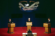 Vice presidential candidates Dan Quayle (Left), James Stockdale (Center) and Al Gore face off on Oct. 13, 1992, in Atlanta, Ga. during the prime time broadcast of the 1992 Vice Presidential Debate.