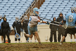 CHAPEL HILL, NC - FEBRUARY 23: Jack Rowlett #22 of the North Carolina Tar Heels during a game against the Johns Hopkins Blue Jays on February 23, 2019 at Kenan Stadium in Chapel Hill, North Carolina. Hopkins won 11-10. (Photo by Peyton Williams/US Lacrosse)