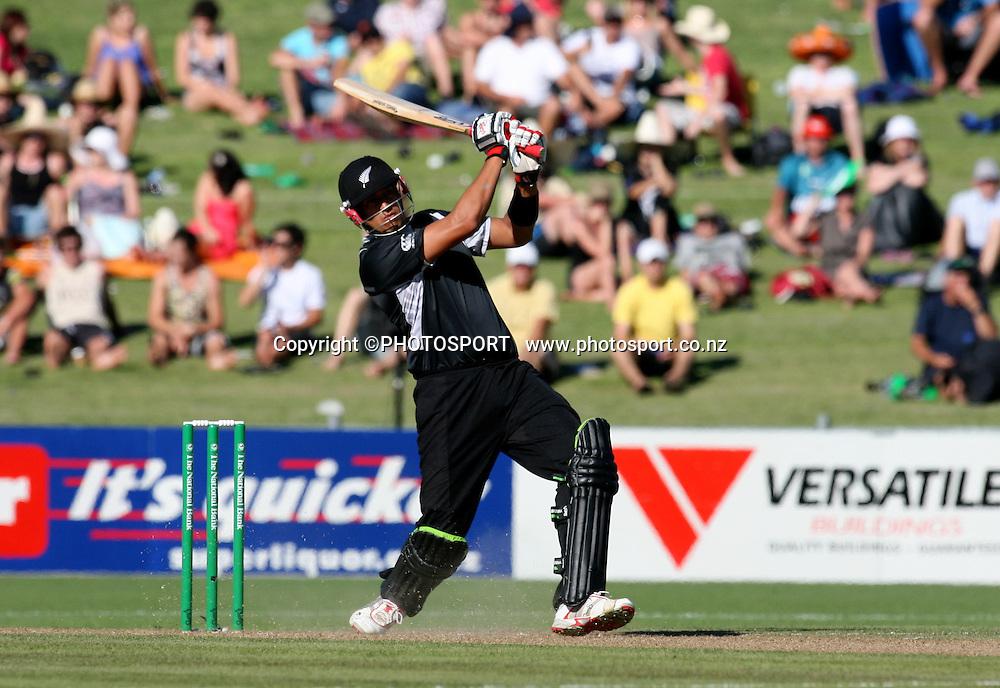 Darryl Tuffey plays a shot. New Zealand Black Caps v Bangladesh. 1st ODI. McLean Park, Napier. Friday 05 February 2010  Photo: John Cowpland/PHOTOSPORT