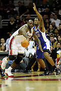 Jan 31, 2010; Cleveland, OH, USA; Los Angeles Clippers center DeAndre Jordan (9) puts pressure on Cleveland Cavaliers center Shaquille O'Neal (33) during the third quarter at Quicken Loans Arena. The Cavaliers beat the Clippers 114-89. Mandatory Credit: Jason Miller-US PRESSWIRE