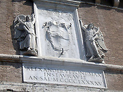 Decorative detail from the area surrounding Castel Sant'Angelo and the Ponte Sant'Angelo in Rome, Italy. Many decorative sculptural and architectural details adorn the length of the bridge, as well as the area surrounding it and the Castel Sant'Angelo. This image shows angels.