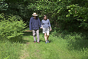 Middle aged woman walking holding hands with her elderly father along woodland path, Suffolk, England, UK