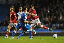Jonathan Kodjia of Bristol City is tackled by Lewis Dunk of Brighton & Hove Albion - Mandatory byline: Dougie Allward/JMP - 07966 386802 - 20/10/2015 - FOOTBALL - American Express Community Stadium - Brighton, England - Brighton v Bristol City - Sky Bet Championship