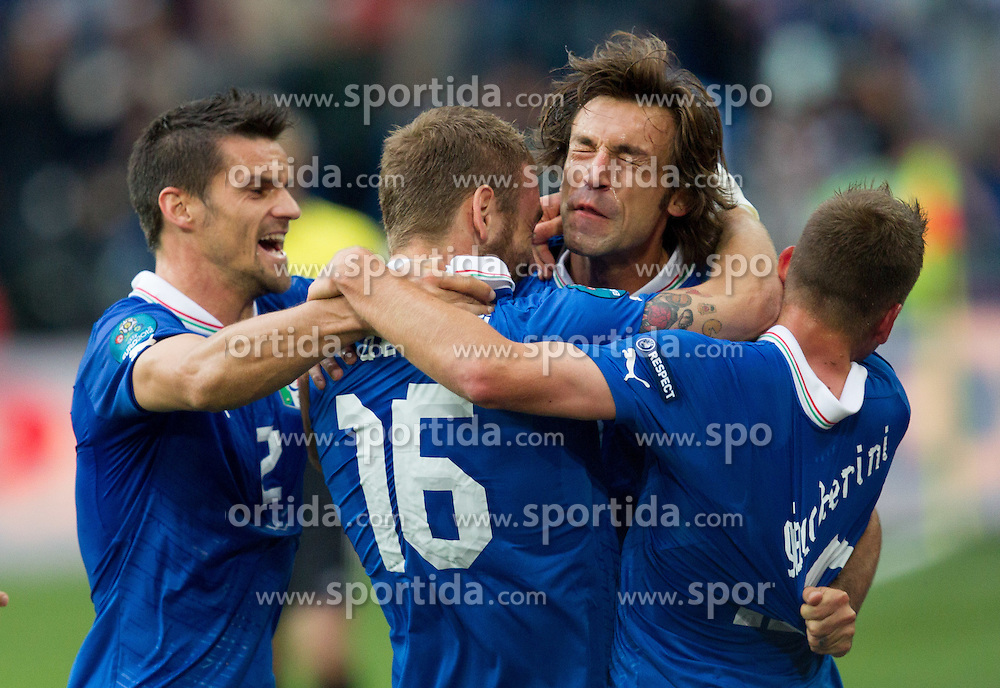 Christian Maggio of Italy, Daniele De Rossi of Italy, Andrea Pirlo of Italy  and Emanuele Giaccherini of Italy celebrate when Andrea Pirlo of Italy scored during the UEFA EURO 2012 group C match between Italy and Croatia at Poznan City Stadium on June 14, 2012 in Poznan, Poland.  (Photo by Vid Ponikvar / Sportida.com)