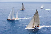 Velsheda, Rebecca, Ranger, and Windrose sailing in the 2010 Antigua Classic Yacht Regatta, Butterfly Race, day 2.