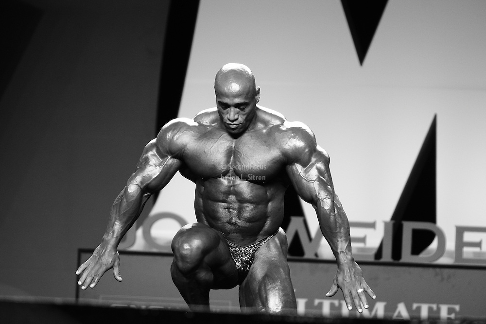 Dennis James competing at the 2010 Mr. Olympia finals in Las Vegas and retiring from professional bodybuilding.