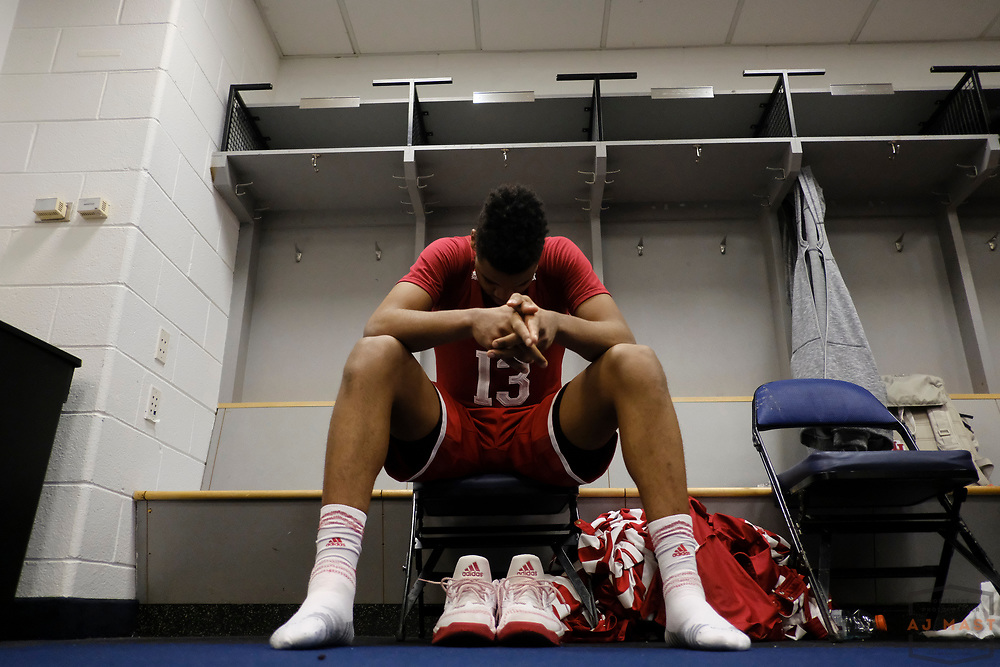 Indiana forward Juwan Morgan (13)  after Indiana played Wisconsin in an NCCA college basketball game in the third round of the Big 10 tournament in Washington, D.C., Friday, March 10, 2017. (AJ Mast)