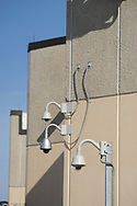 Exterior security cameras are visible as media members tour the newest prison in Pennsylvania Friday, September 01, 2017 at State Correction Institution Phoenix in Skippack, Pennsylvania. The facility is inching closer to opening, two years late, to replace Graterford Prison at a cost of $400 million. (Photo by William Thomas Cain/CAIN IMAGES)