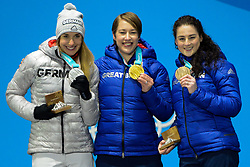 February 18, 2018 - Pyeongchang, South Korea - JACQUELINE LOELLING of Germany (left) , LIZZY YARNOLD of Great Britain (center) and LAURA DEAS of Great Britain with their medals from the Women's Skeleton event in the PyeongChang Olympic Games. (Credit Image: © Christopher Levy via ZUMA Wire)