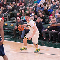 1st year guard Brayden Kuski (15) of the Regina Cougars in action during the Men's Basketball home game on January  19 at Centre for Kinesiology, Health and Sport. Credit: Arthur Ward/Arthur Images