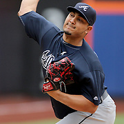 NEW YORK, NEW YORK - MAY 04:  Pitcher Jhoulys Chacin #43 of the Atlanta Braves pitching during the Atlanta Braves Vs New York Mets MLB regular season game at Citi Field on May 04, 2016 in New York City. (Photo by Tim Clayton/Corbis via Getty Images)