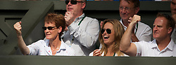 LONDON, ENGLAND - Wednesday, June 30, 2010: Judy (Judith) Murray and Kim Sears celebrate as Andy Murray (GBR) wins a point during the Gentlemen's Singles Quarter-Final on day nine of the Wimbledon Lawn Tennis Championships at the All England Lawn Tennis and Croquet Club. (Pic by David Rawcliffe/Propaganda)