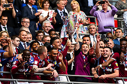 Aston Villa lift the Sky Bet Championship Playoff Final Trophy after winning promotion to the Premier League - Mandatory by-line: Robbie Stephenson/JMP - 27/05/2019 - FOOTBALL - Wembley Stadium - London, England - Aston Villa v Derby County - Sky Bet Championship Play-off Final