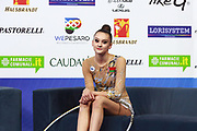 Harnasko Alina on Kiss and Cry at World Cup Pesaro 2018.<br />