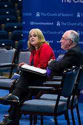 Pictured: Trisha McGonalouge from Bridging the Gap with John Chalmers, Moderator of the Church of Scotland<br /> <br /> The People Politics Hustings,  organised by the Church of Scotland, allowed voters to question SNP deputy John Swinney, Scottish Labour leader Kezia Dugdale, Scottish Liberal Democrat leader Willie Rennie, Scottish Greens co-convener Patrick Harvie and former Scottish Conservatives leader Annabel Goldie ahead of the Scottish Elections. Before the politicians had a chance to speak they had a chance to listen to five speakers with different viewpoints on how Scotland has supported them in the past and how it should support them in the future..<br /> Ger Harley | EEm 4 April 2016