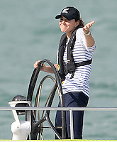 The Duke and Duchess of Cambridge race other on Emirates Team New Zealand Americas Cup Yachts in Auckland Harbour, as part of their tour of New Zealand and Australia in Auckland, New Zealand, on the 11th April 2014.
