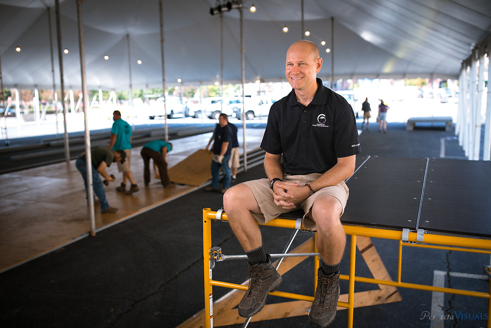 Josh Sherrick is the Arts and Events Superintendent for the City of Greensboro. Among his many responsibilities is overseeing the the operations of the National Folk Festival for 2015 through 2017.<br /> <br /> Photographed, Tuesday, September 5, 2017, in Greensboro, N.C. SCOTT MUTHERSBAUGH  and  JERRY WOLFORD  / Perfecta Visuals