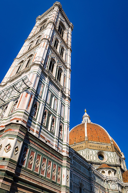 Giotto's Bell Tower (Campanile di Giotto) and the Duomo, Florence, Tuscany, Italy
