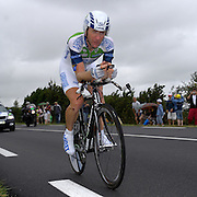 FRANCE, SATURDAY 28th JULY 2007:  Stage 19 Cognac - Angouleme, 55.5 km time trial. Nicolas Jalabert (Agritubel) with approximately 17km to go to the finish.