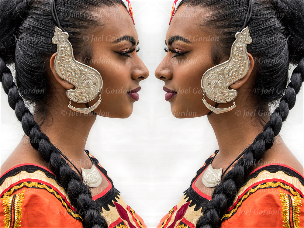 Photographic series of digital computer art from an image of Sri Lankan Dancer profile face to face.<br /> <br /> Two or more layers were used to enhance, alter, manipulate the image, creating an abstract surrealistic mirrored symmetry.<br /> <br /> Kandysan Sri Lankan Ethnic Pride.  The Sri Lankan Dance Academy of NY is a dance school and performing ensemble, promoting cultural harmony between communities of Sri Lankan heritage.