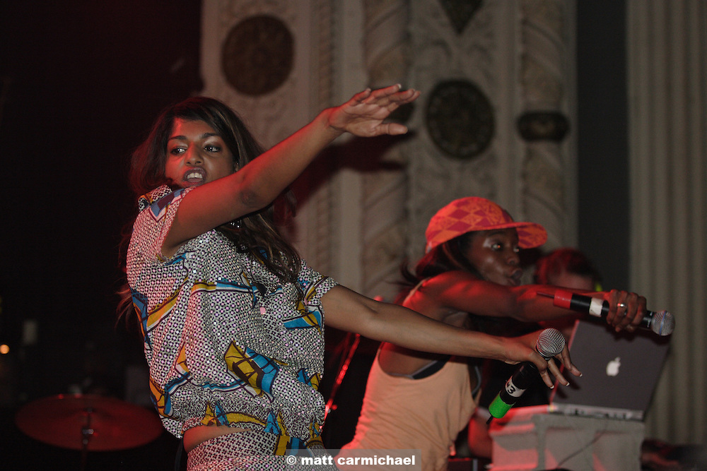 CHICAGO - MAY 19: M.I.A. performs live in concert with Diplo on their sold out club tour stop on May 19, 2005 at Chicago's Metro. (Photo by Matt Carmichael/Getty Images)