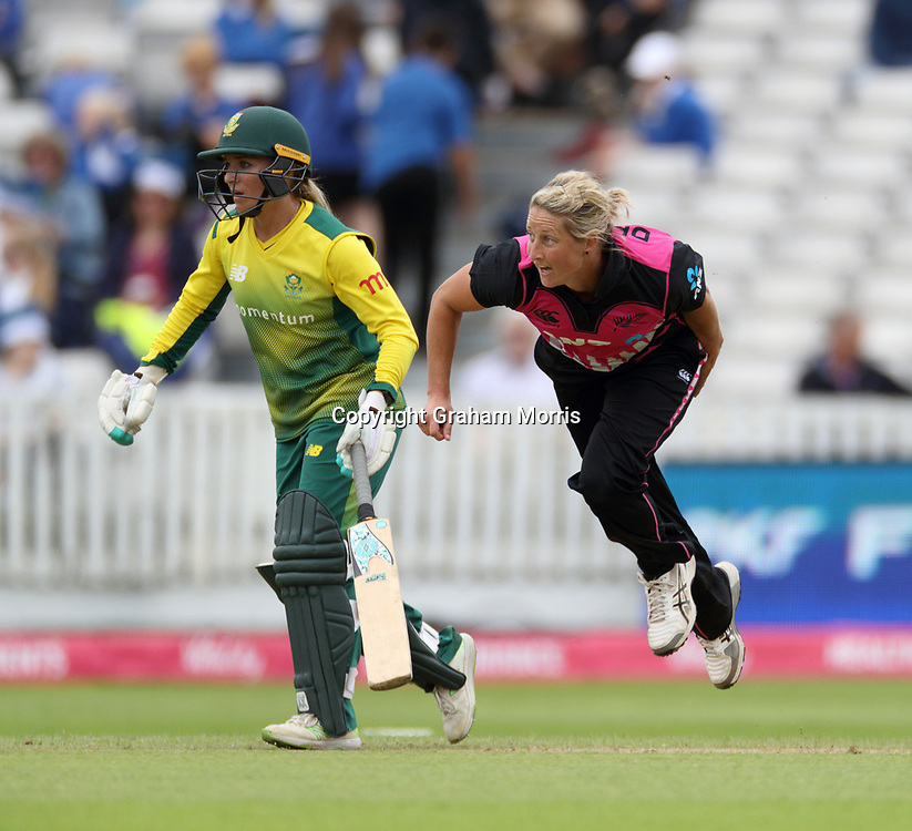 Sophie Devine bowls during their century partnership in the T20I between the White Ferns and South Africa Women at the County Ground, Taunton. Photo: Graham Morris/www.photosport.nz 20/06/18
