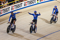 March 1, 2018 - Apeldoorn, Netherlands - Simone Consonni, Liam Bertazzo, Filippo Ganna and Francesco Lamon of Italy competes in the Men's team pursuit during UCI Track Cycling World Championships Apeldoorn 2018  in Apeldoorn, the Netherlands on 1st March 2018. The track cycling worlds take place from 28 February to 04 March. (Credit Image: © Foto Olimpik/NurPhoto via ZUMA Press)