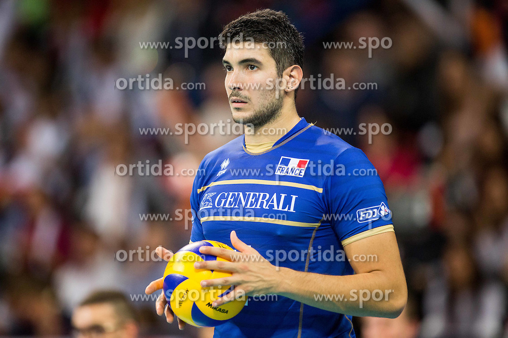 Nicolas Le Goff #14 of France during volleyball match between National teams of France and Bulgaria in 2nd Semifinal of 2015 CEV Volleyball European Championship - Men, on October 17, 2015 in Arena Armeec, Sofia, Bulgaria. Photo by Vid Ponikvar / Sportida