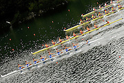 2006 FISA World Cup, Lucerne, SWITZERLAND, 07.07.2006. Men's Eights Bottom to top ITA M8+, NED M8-, ROM M8+,  SUI M8+, Photo  Peter Spurrier/Intersport Images email images@intersport-images.com.[Friday Morning]....[Mandatory Credit Peter Spurrier/Intersport Images... Rowing Course, Lake Rottsee, Lucerne, SWITZERLAND.