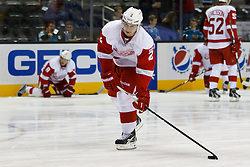 Nov 17, 2011; San Jose, CA, USA; Detroit Red Wings defenseman Brendan Smith (2) warms up before the game against the San Jose Sharks at HP Pavilion. San Jose defeated Detroit 5-2. Mandatory Credit: Jason O. Watson-US PRESSWIRE