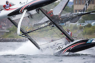 The Alinghi GC32 is capsizing during the 2015 Bullitt GC32 Racing Tour in Kiel Cup. 30 July 2015 , Bullitt GC32 Racing Tour. Alinghi challenged for and won the 2003 America's Cup in Auckland New Zealand and successfully defended it at the 2007 America's Cup in Valencia, Spain. Now they are racing in the GC32 class. More info about the GC32 class on http://www.gc32racing.com/boat/