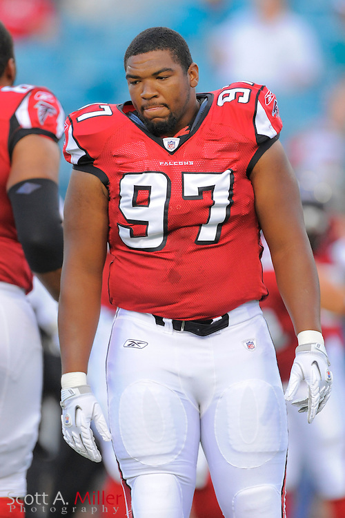 Atlanta Falcons defensive tackle Trey Lewis (97) during the Falcons game against the Jacksonville Jaguars at EverBank Field on Aug. 19, 2011 in Jacksonville, Fla...©2011 Scott A. Miller