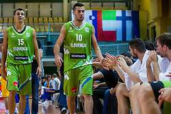 Jure Balazic and Mitja Nikolic of Slovenia during friendly basketball match between National teams of Slovenia and Ukraineat day 1 of Adecco Cup 2015, on August 21 in Koper, Slovenia. Photo by Grega Valancic / Sportida