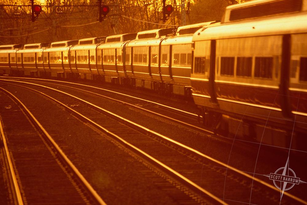 Passenger train in yard.